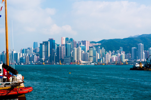 vedere asupra insulei Hong Kong din sudul Kowloon-ului- Tsim Sha Tsui)