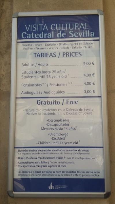 Prețul biletelor la Catedrala din Sevilla
